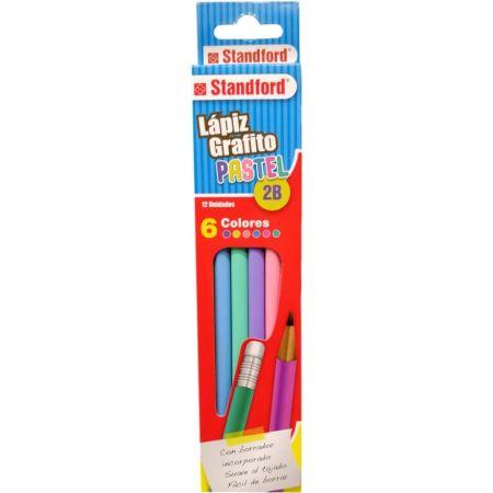 Lápiz Grafito 2B Pastel Blister x 6 Unidades