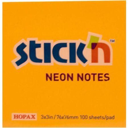Nota Autoadhesiva 76mm x 76mm Paquete Naranja Neón x 100 Hojas