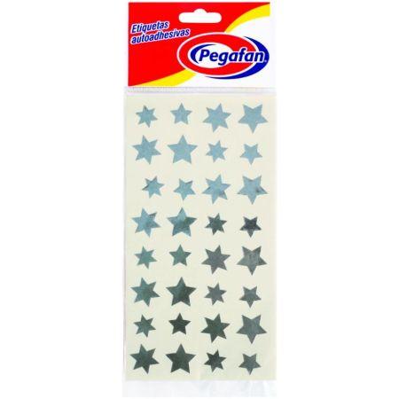 Etiquetas Estrella Plateado x 96 Unidades