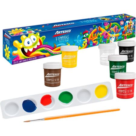 Témpera Art Kids 30 cc Estuche x 7 Unidades + Pincel