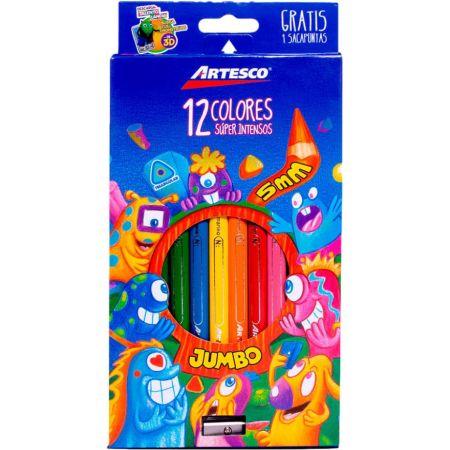 Colores Triangulares Jumbo Caja x 12 Unidades + Tajador