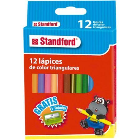 Colores Triangulares Cortos Caja x 12 Unidades + Tajador