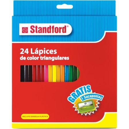 Colores Triangulares Caja x 24 Unidades + Tajador