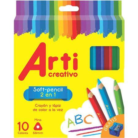 Crayones Soft Pencil 2 en 1 Caja  x 10 Unidades