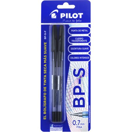 Lapicero BP-S Negro Blister x 2 Unidades