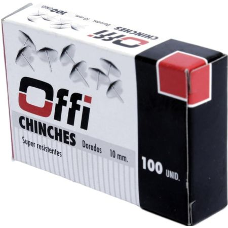Chinches Metálicos Dorados Caja x 100 Unidades Offi