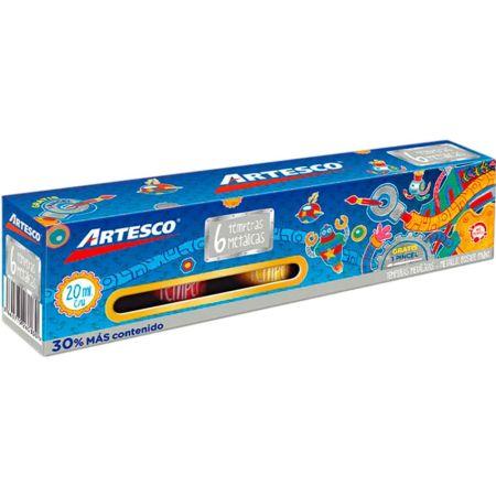 Témpera Art Kids Metálica 20 cc Estuche x 6 Unidades + Pincel