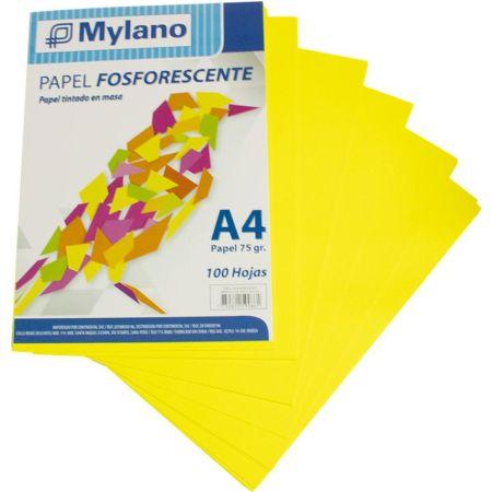 Papel Fosforescente A4 Amarillo Paquete x 100 Hojas
