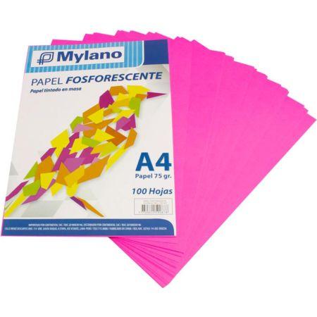 Papel Fosforescente A4 Fucsia Paquete x 100 Hojas