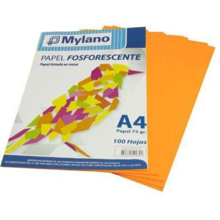 Papel Fosforescente A4 Anaranjado Paquete x 100 Hojas