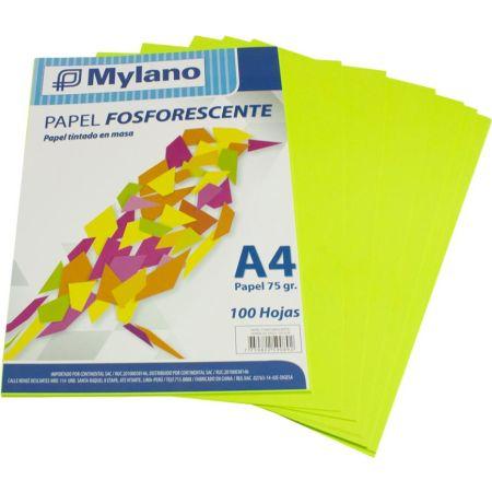Papel Fosforescente A4 Verde Paquete x 100 Hojas
