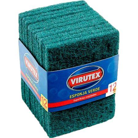 Esponja Fibra Verde con Faja Paquete x 12 Unidades