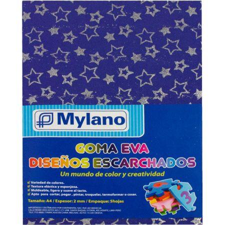 Goma Eva Diseño Escarchado Estrellas  A-4 paquete Mylano