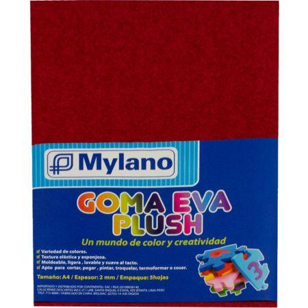 Goma Eva Plush A-4 Rojo Bolsa x 5 Hojas Mylano
