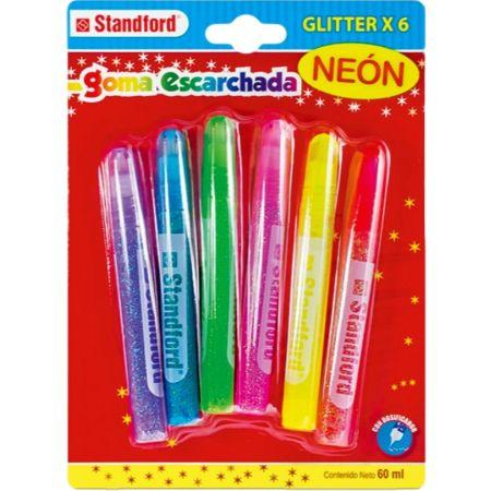 Pegamento Glitter Neón 10.5 ml Blister x 6 Unidades