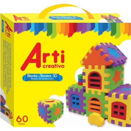 Bloques de Construcción Block & Towers 3D Caja x 60 Unidades