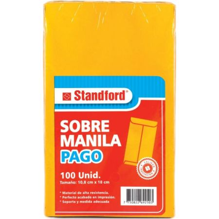 Sobre Manila Pago Paquete x 100 Unidades 75gm