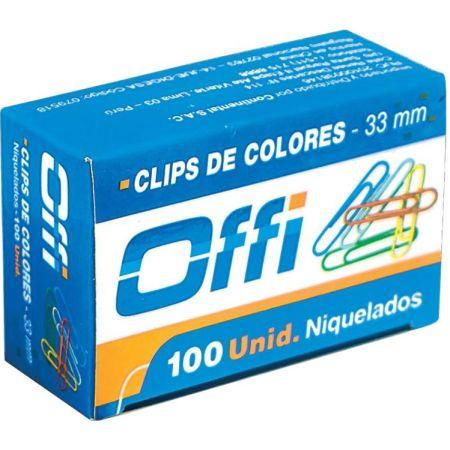 Clips Metálicos de Colores 33 mm Caja x 100 Unidades Offi