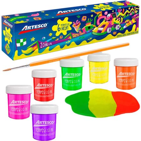 Témpera Art Kids Neón 20 cc Estuche x 6 Unidades + Pincel