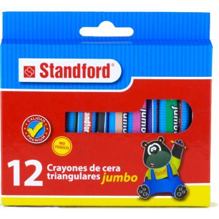 Crayones Jumbo Triangular Caja x 12 Colores Standford
