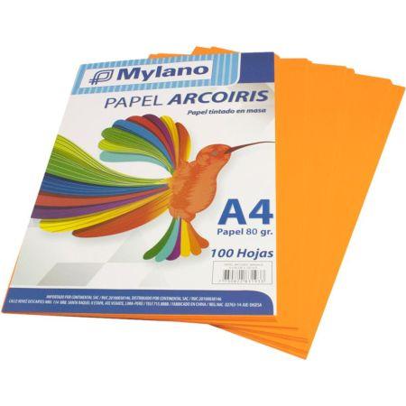 Papel A4 Anaranjado Paquete x 100 Hojas