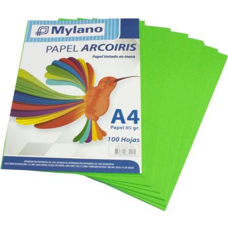 Papel A4 Verde Claro Paquete x 100 Hojas