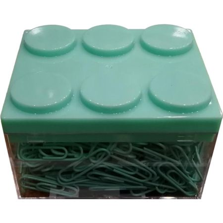 Caja Rectangular Verde de Clips x 450 Piezas