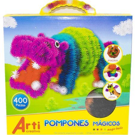 Juego de Construcción Pompones Mágicos Caja x 400 Piezas