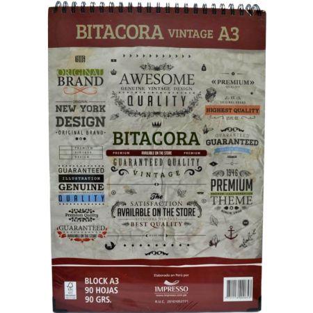 Block Bitácora Vintage A3 90 g x 90 Hojas