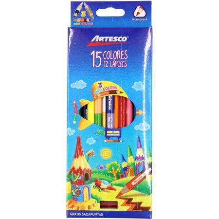 Colores Triangulares Caja x 12 Unidades + 3 Colores + Tajador