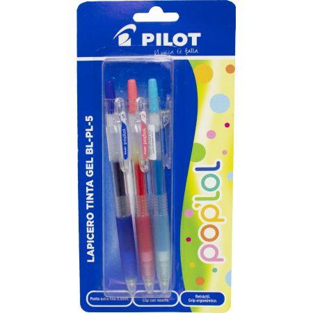 Lapicero Pop Lol BL-PL-5 Azul / Rosado / Celeste Blister x 3 Unidades