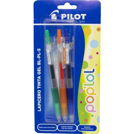 Lapicero Pop Lol BL-PL-5 Azul / Anaranjado / Verde Blister x 3 Unidades