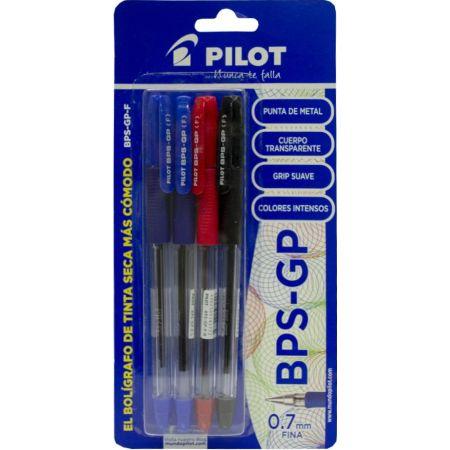 Lapicero BPS GP Blister x 4 Unidades 2 Azul / Negro / Rojo