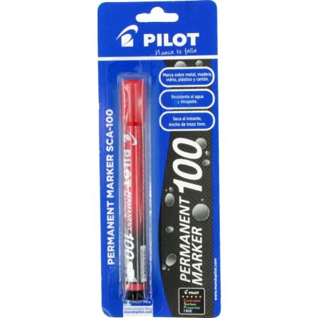 Plumón Indeleble SCA-100 Rojo Blister x 1 Unidad