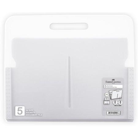 Porta Documentos de Plástico con 5 Bolsillo A4 Blanco