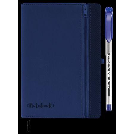 Set Libreta Notebook con Cierre Azul + Lapicero Trimax GL032M Artesco