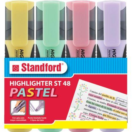 Resaltador con Grip 48 Pastel Estuche x 4 Colores