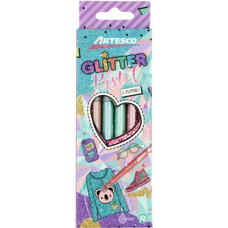 Plumón Glitter Pastel Estuche x 6 Unidades