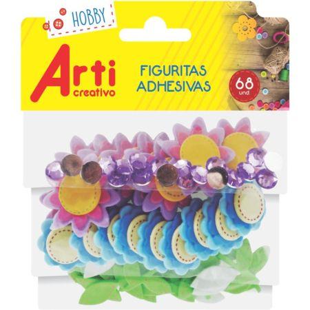 Figura Adhesiva Goma Eva de Flores 3D X 68 Piezas