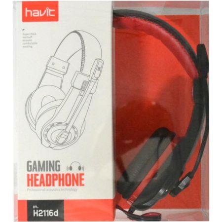 Audífono Stereo con Micrófono HV-H2116D Rojo y Negro