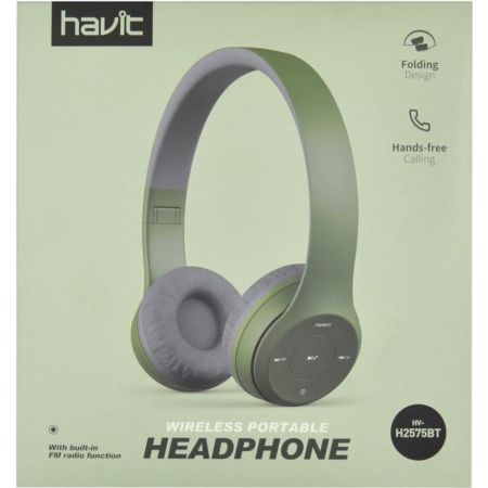 Audífono Stereo con Bluetooth HV-H2575BT Verde y Gris