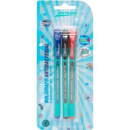 Bolígrafo Trimax GL-32M Antibacterial Blister x 3 Azul, Negro y Rojo