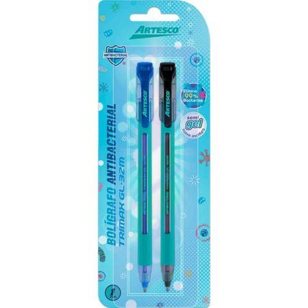 Bolígrafo Trimax GL-32M Antibacterial Blister x 2 Azul y Negro