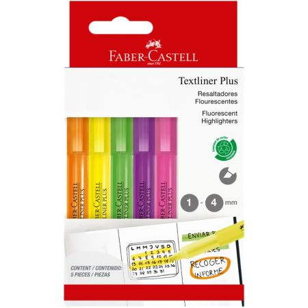Plumón Textliner Plus x 5 Colores
