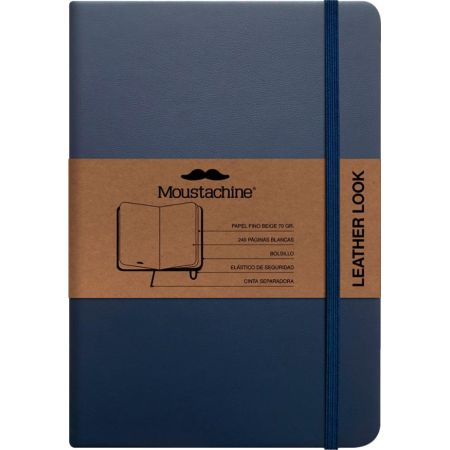 Libreta Mediana Classic Leather Look Azul - Hoja Blanca