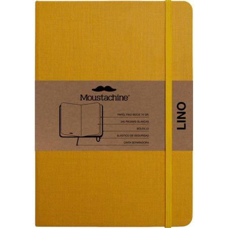 Libreta Mediana Classic Lino Texturado Amarilla - Hoja Rayada