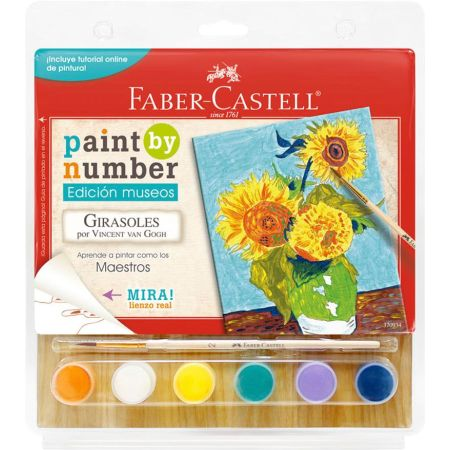 Lienzo Paint by Number Girasoles de Van Gogh + 6 Pinturas Acrílicas