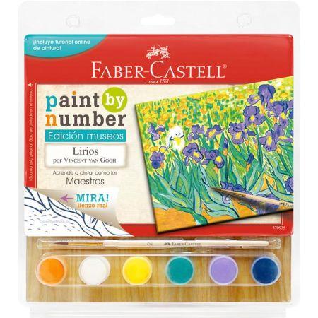 Lienzo Paint by Number Lirios de Van Gogh + 6 Pinturas Acrílicas